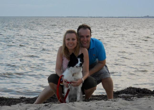 Tatyana and Rory Wingham with their dog Sawyer